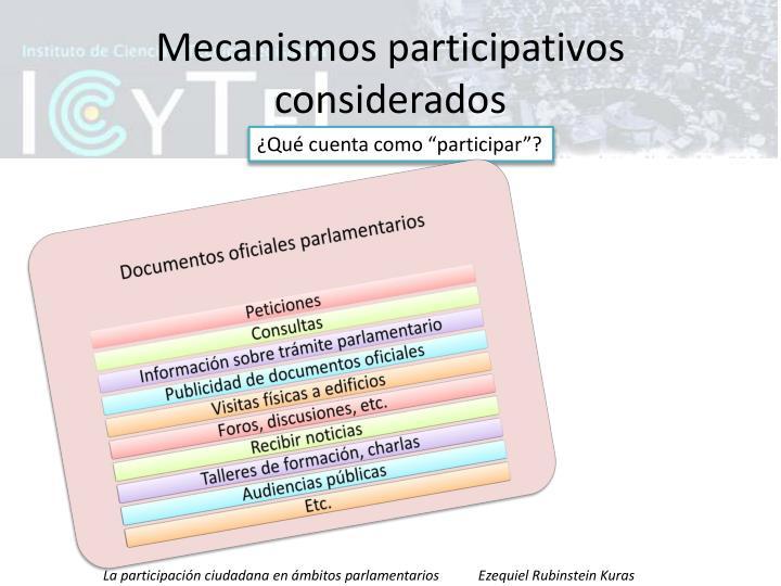 Mecanismos participativos considerados