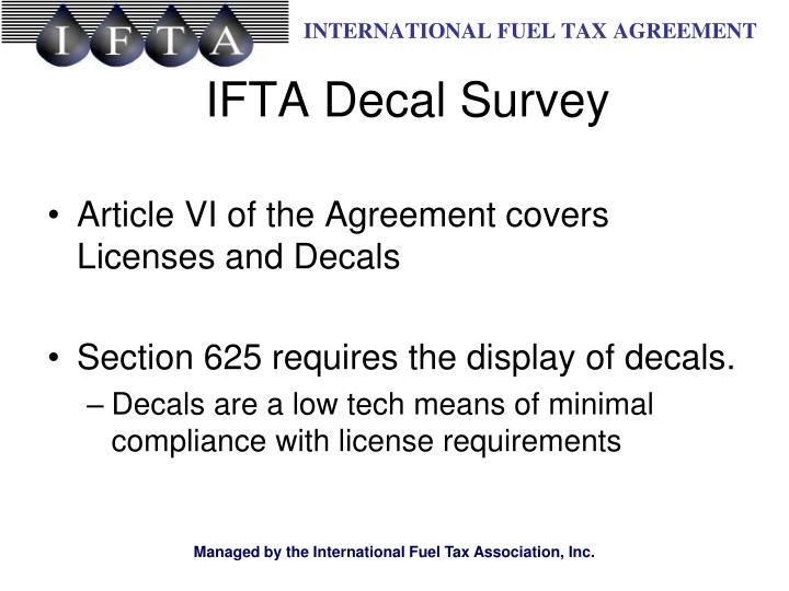 Article VI of the Agreement covers Licenses and Decals