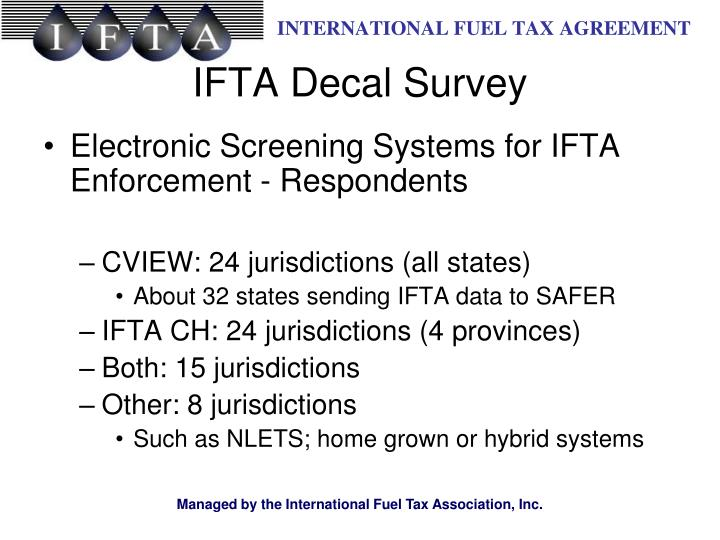 Electronic Screening Systems for IFTA Enforcement - Respondents