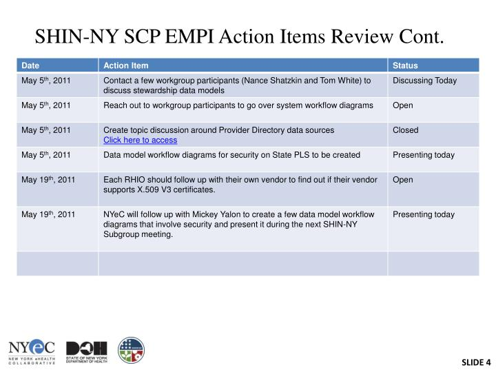SHIN-NY SCP EMPI Action Items Review Cont.