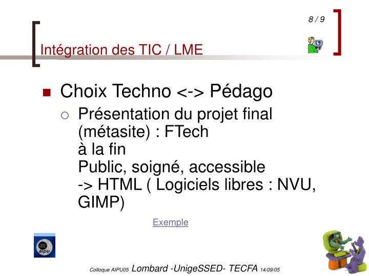 Intégration des TIC / LME