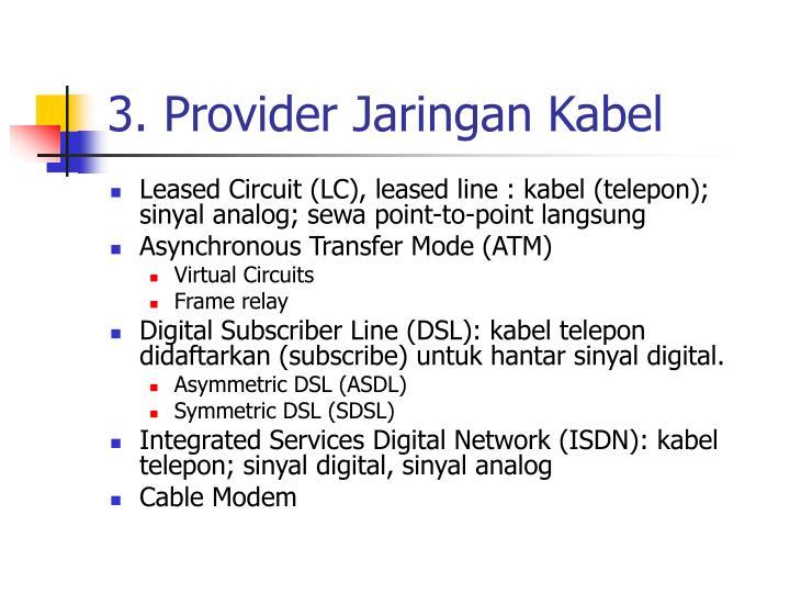 3. Provider Jaringan Kabel