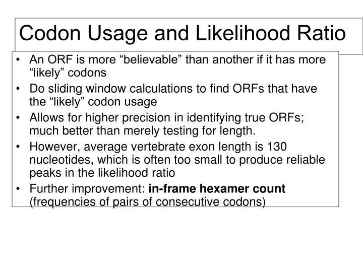 Codon Usage and Likelihood Ratio