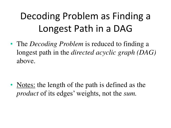 Decoding Problem as Finding a Longest Path in a DAG