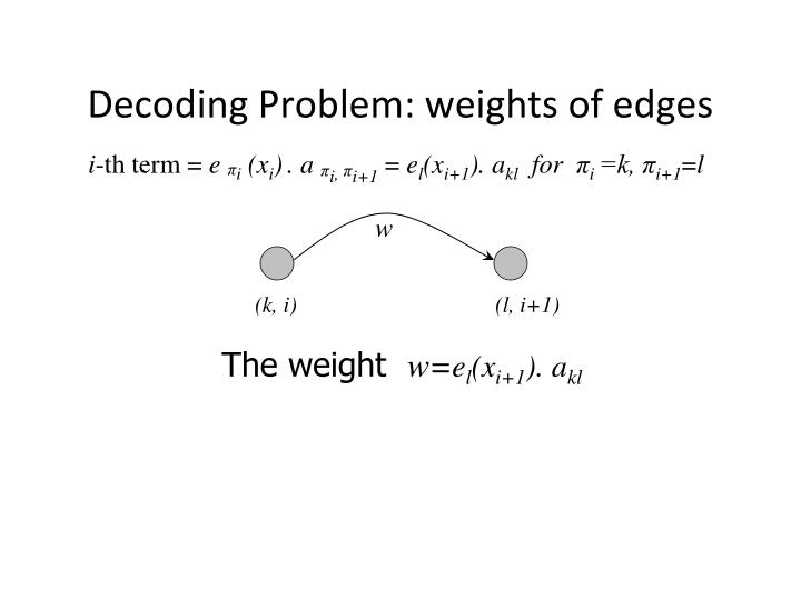 Decoding Problem: weights of edges