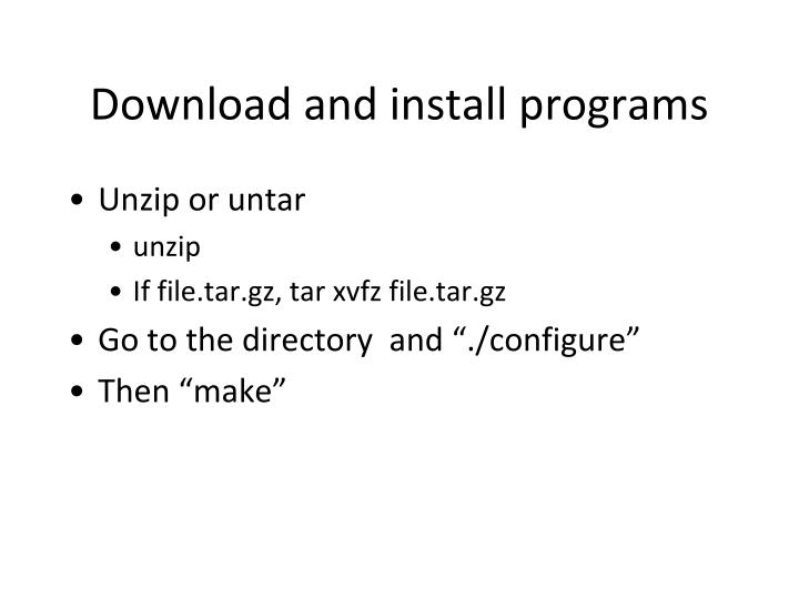 Download and install programs