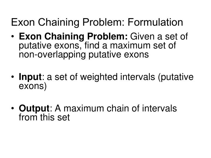 Exon Chaining Problem: Formulation