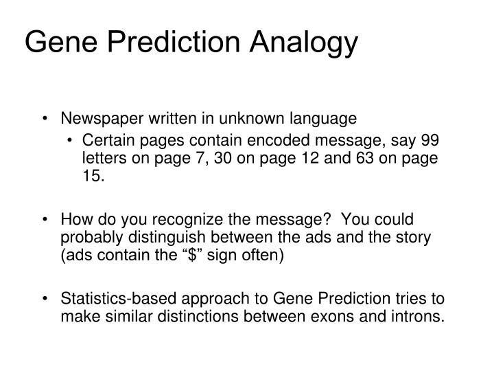 Gene Prediction Analogy