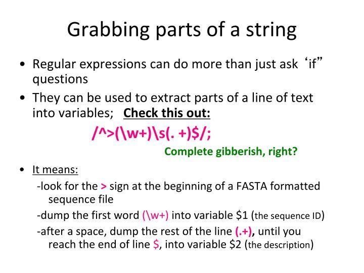 Grabbing parts of a string
