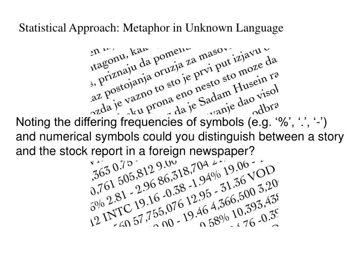 Statistical Approach: Metaphor in Unknown Language