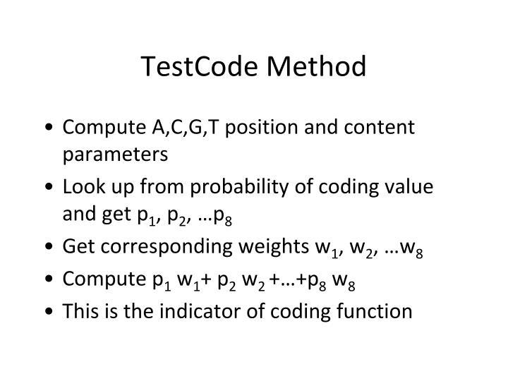 TestCode Method