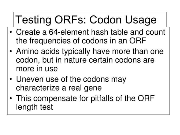 Testing ORFs: Codon Usage