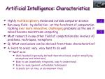 artificial intelligence characteristics