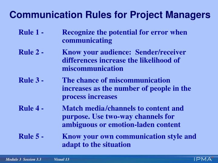 Communication Rules for Project Managers