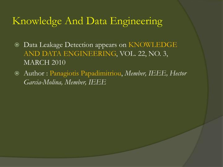 Knowledge and data engineering