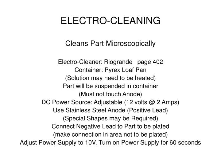 ELECTRO-CLEANING