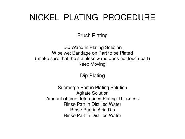 NICKEL  PLATING  PROCEDURE