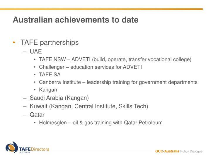 Australian achievements to date