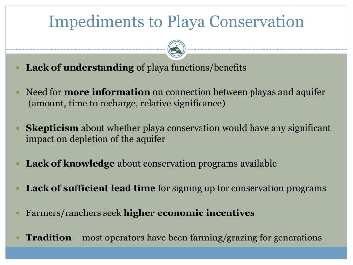 Impediments to Playa Conservation