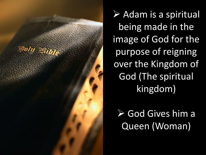 Adam is a spiritual being made in the image of God for the purpose of reigning over the Kingdom of God (The spiritual kingdom)
