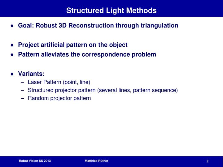 Structured light methods