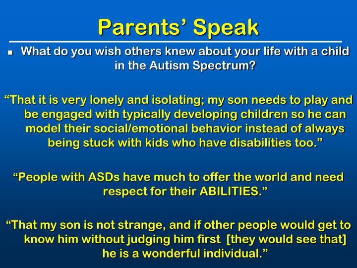 Parents' Speak