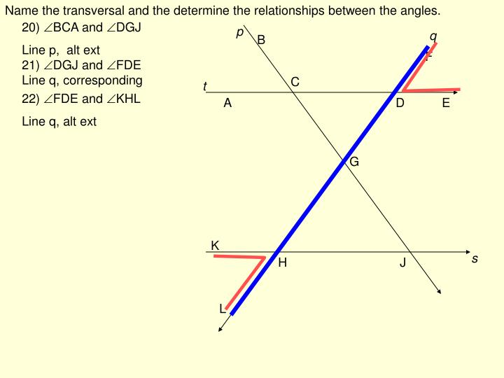Name the transversal and the determine the relationships between the angles.