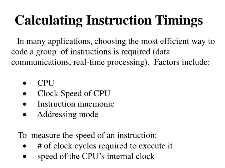 Calculating Instruction Timings