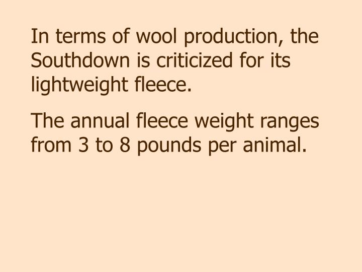In terms of wool production, the Southdown is criticized for its lightweight fleece.