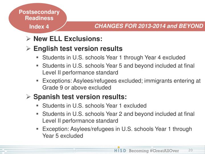 New ELL Exclusions: