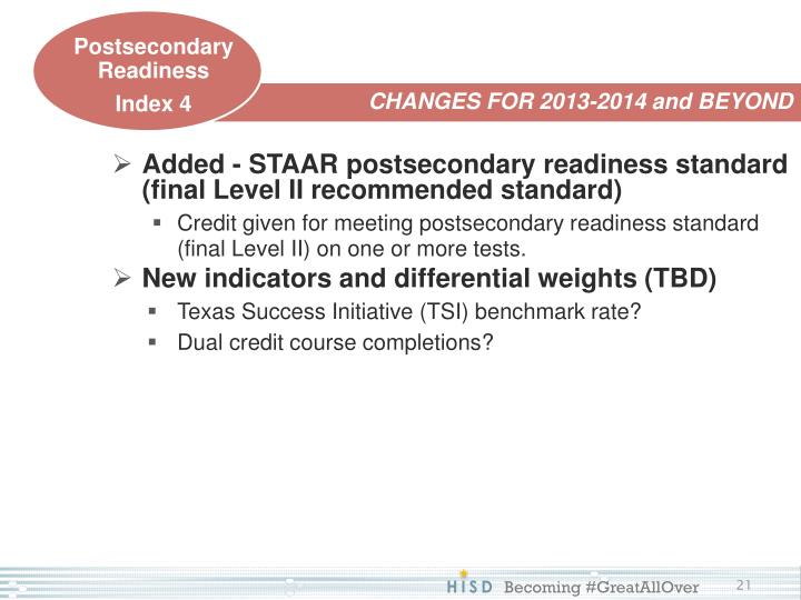 Added - STAAR postsecondary readiness standard (final Level II recommended standard)