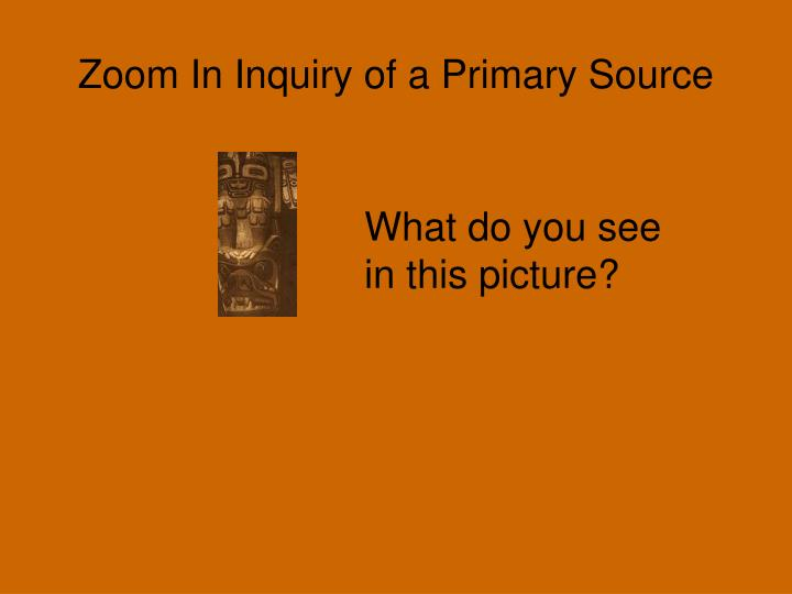 Zoom in inquiry of a primary source1