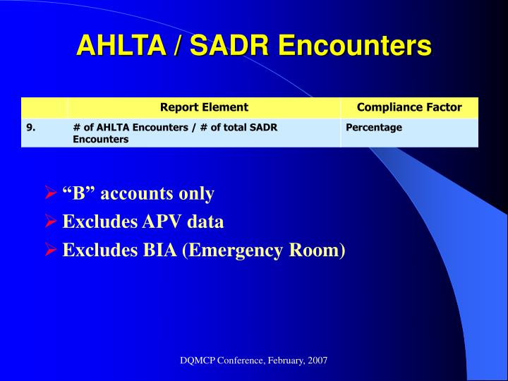 AHLTA / SADR Encounters