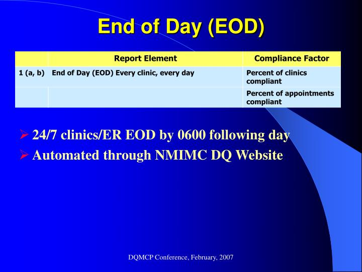 End of Day (EOD)