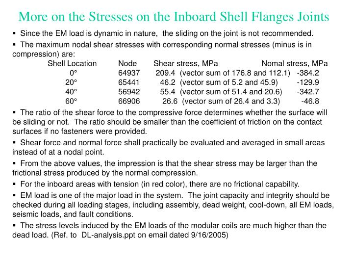 More on the Stresses on the Inboard Shell Flanges Joints