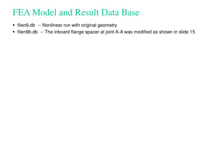 FEA Model and Result Data Base