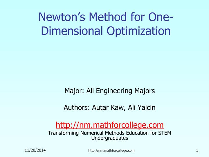 Newton s method for one dimensional optimization