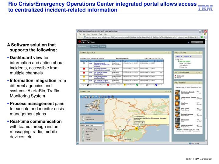 Rio Crisis/Emergency Operations Center integrated portal allows access to centralized incident-related information