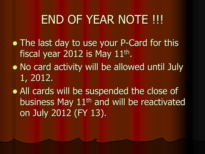 END OF YEAR NOTE !!!