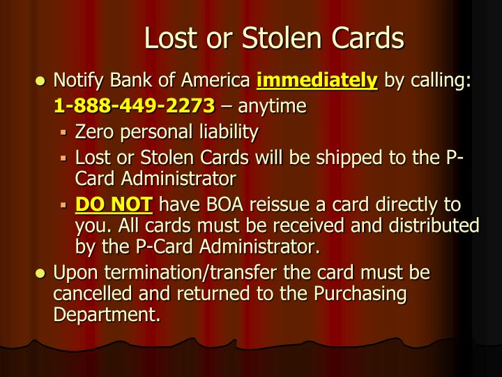 Lost or Stolen Cards