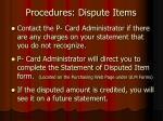 procedures dispute items