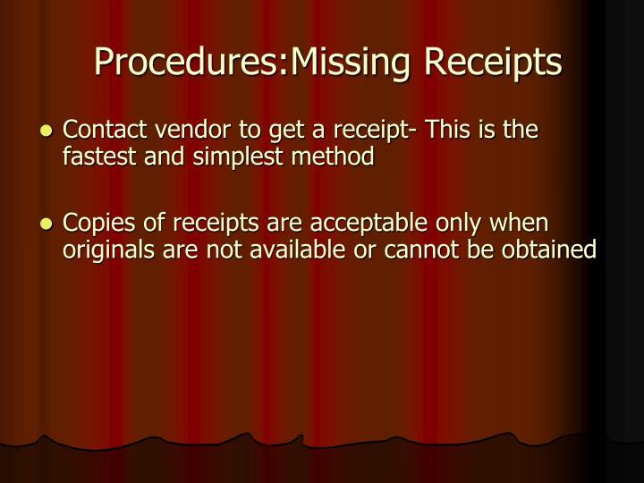 Procedures:Missing