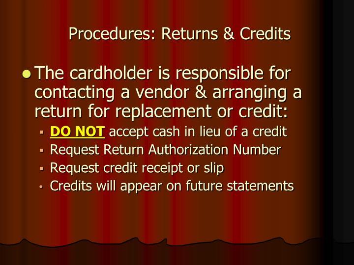 Procedures: Returns & Credits