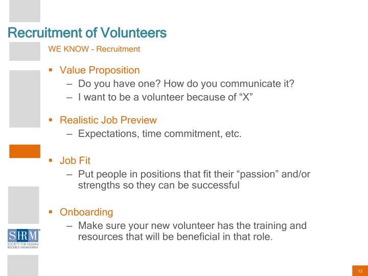 Recruitment of Volunteers