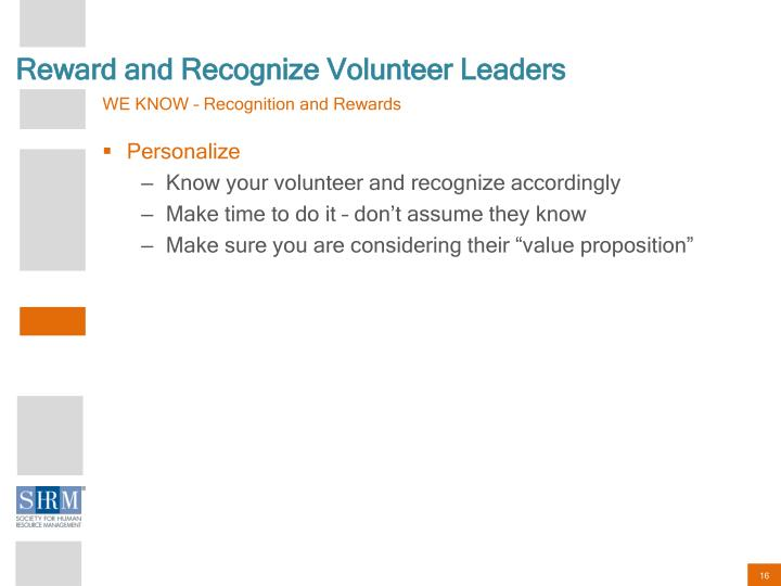 Reward and Recognize Volunteer Leaders