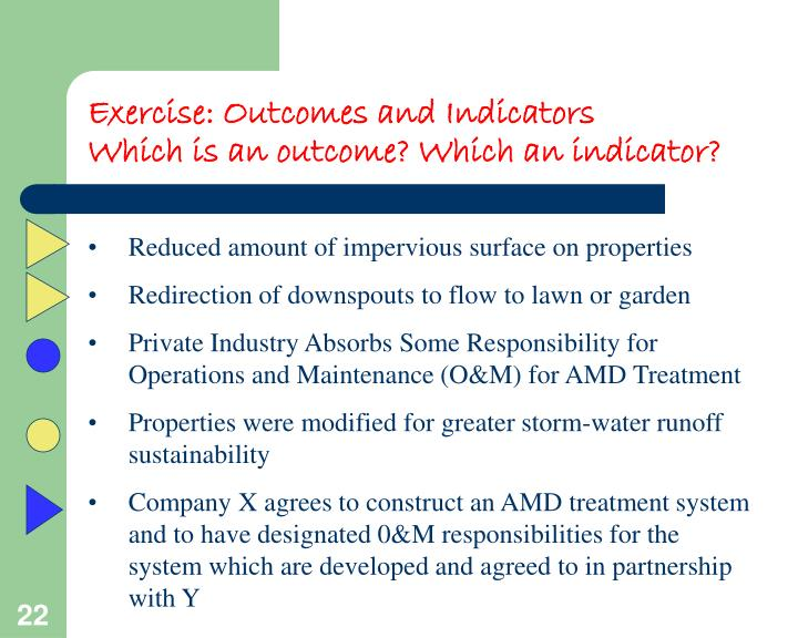Exercise: Outcomes and Indicators