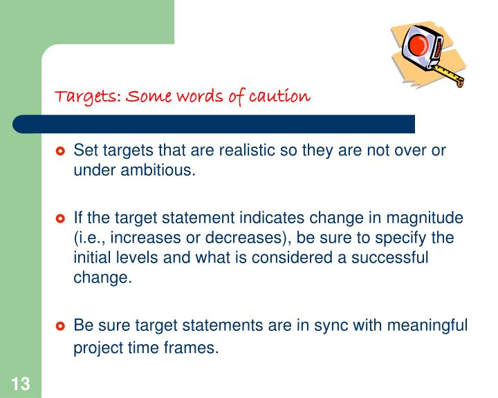 Targets: Some words of caution