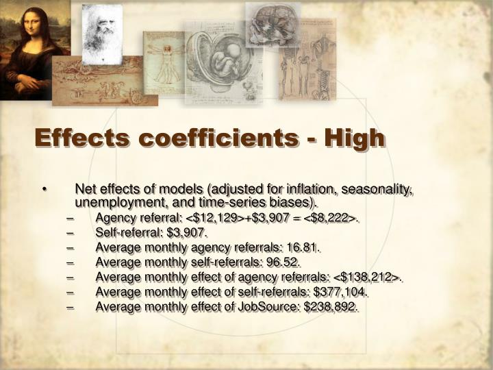 Effects coefficients - High