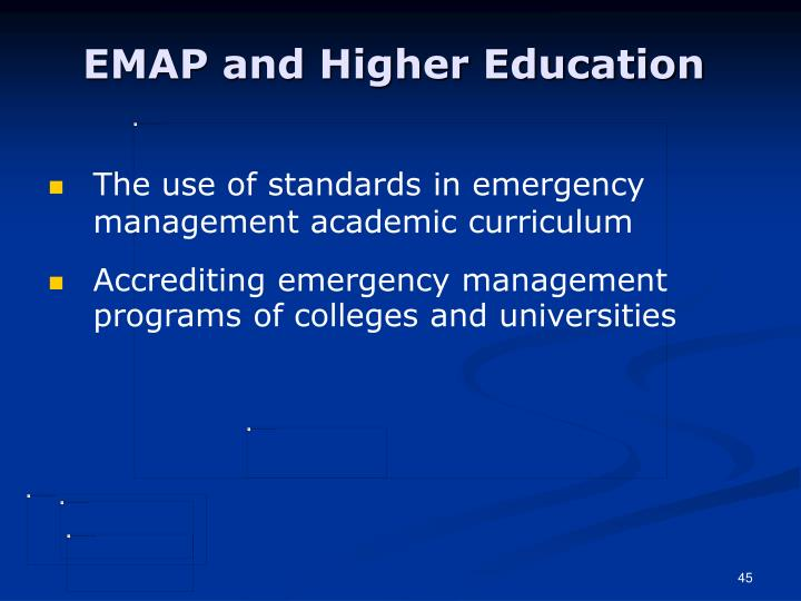 EMAP and Higher Education
