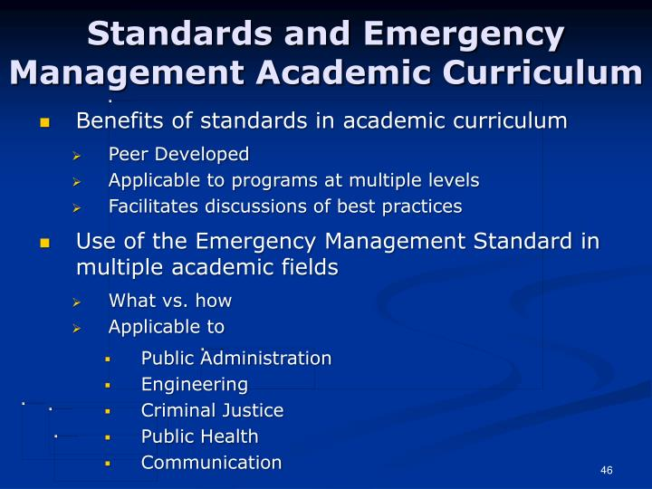 Standards and Emergency Management Academic Curriculum